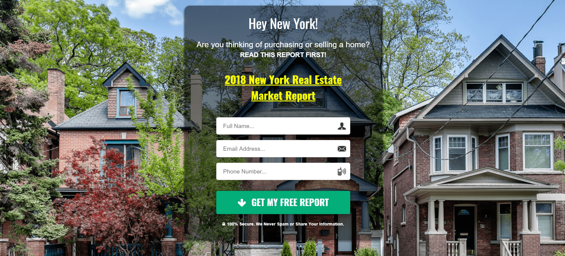 screenshot of real estate landing page with houses in background