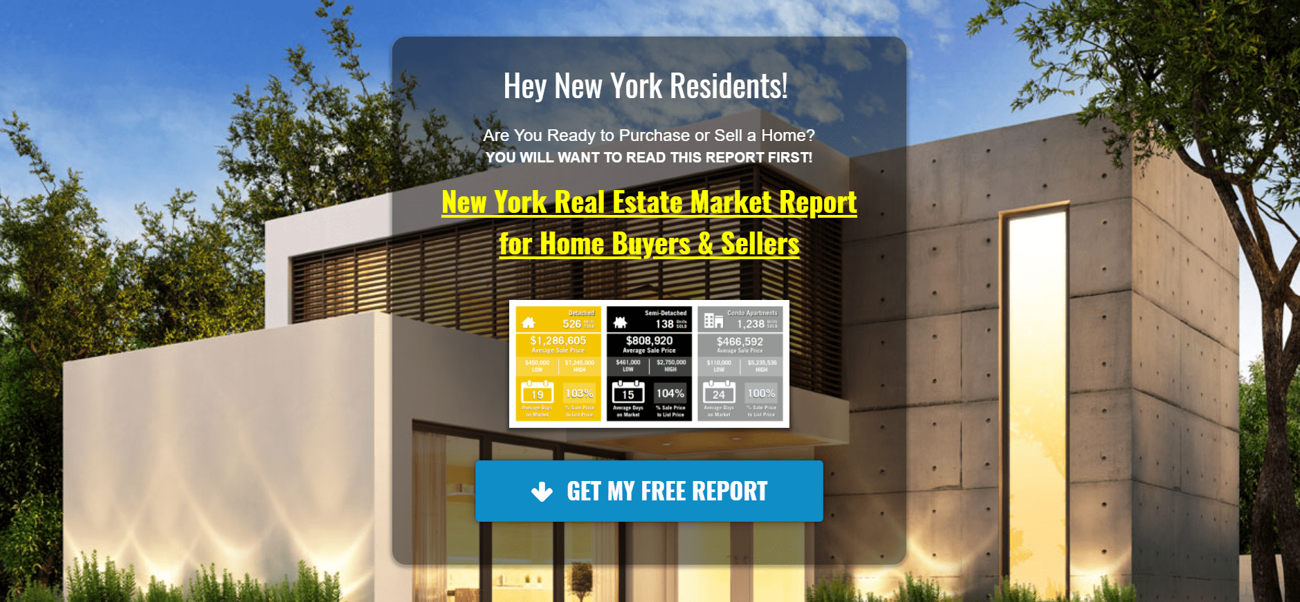 screenshot of real estate landing page with modern home in background