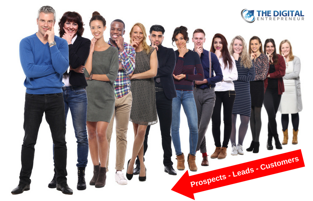 group of people standing side by side representing customers in a digital marketing funnel
