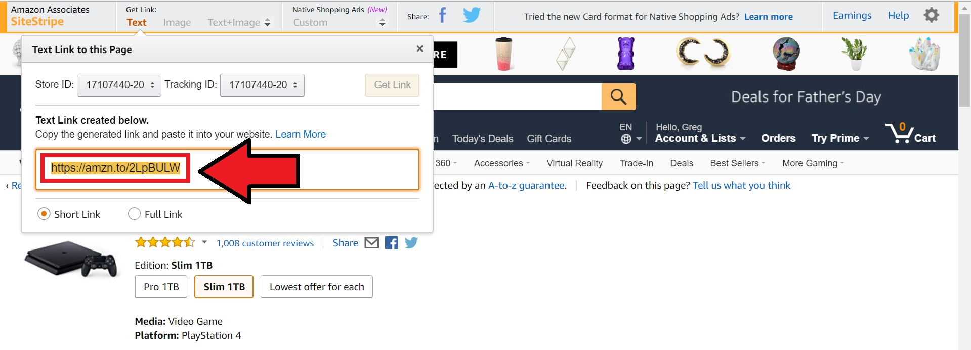 amazon site screenshot affiliate marketing area