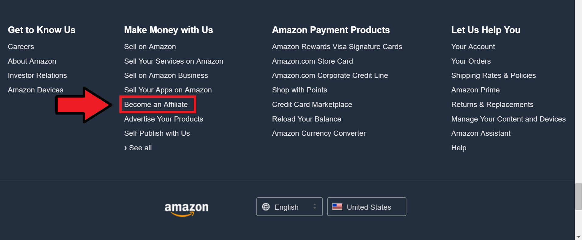 amazon website screenshot with red arrow pointing to how to start affiliate marketing for beginners