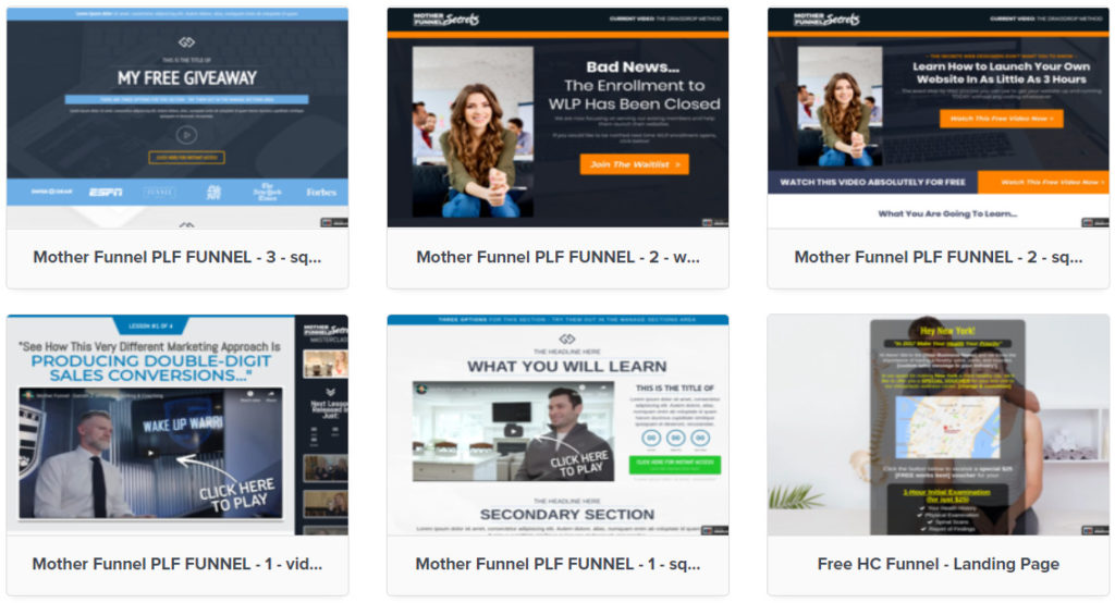 screenshot of clickfunnels sales funnel page templates